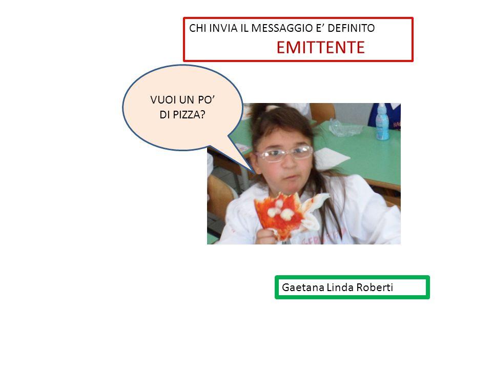 Gaetana Linda Roberti VUOI UN PO' DI PIZZA? CHI INVIA IL MESSAGGIO E' DEFINITO EMITTENTE