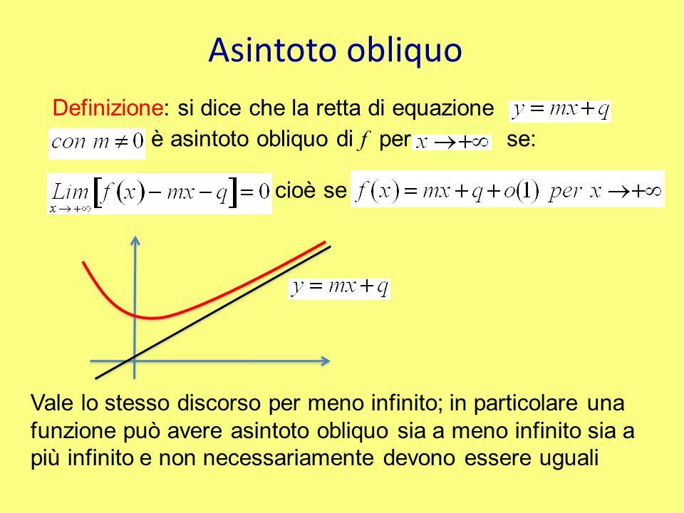 Asintoto obliquo Definizione: si dice che la retta di equazione è asintoto obliquo di f per se: cioè se Vale lo stesso discorso per meno infinito; in particolare una funzione può avere asintoto obliquo sia a meno infinito sia a più infinito e non necessariamente devono essere uguali