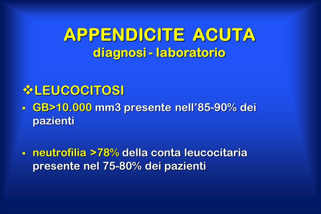 APPENDICITE ACUTA diagnosi - laboratorio  LEUCOCITOSI  GB>10.000 mm3 presente nell'85-90% dei pazienti  neutrofilia >78% della conta leucocitaria p