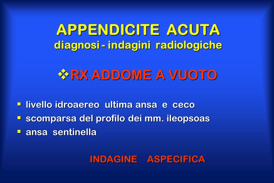 APPENDICITE ACUTA diagnosi - indagini radiologiche  RX ADDOME A VUOTO  livello idroaereo ultima ansa e ceco  scomparsa del profilo dei mm. ileopsoa