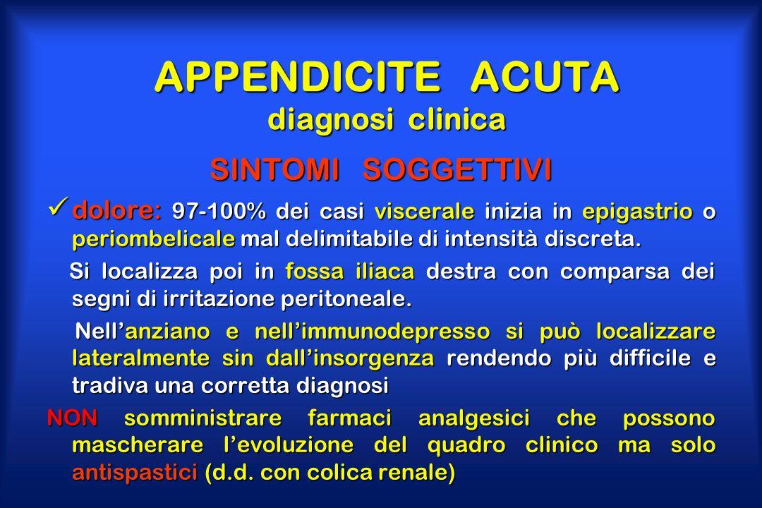 APPENDICITE ACUTA diagnosi clinica SINTOMI SOGGETTIVI dolore: 97-100% dei casi viscerale inizia in epigastrio o periombelicale mal delimitabile di int