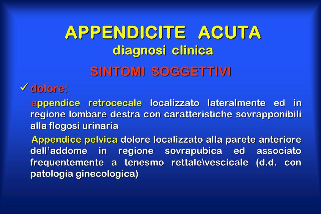 APPENDICITE ACUTA diagnosi clinica SINTOMI SOGGETTIVI dolore: dolore: appendice retrocecale localizzato lateralmente ed in regione lombare destra con