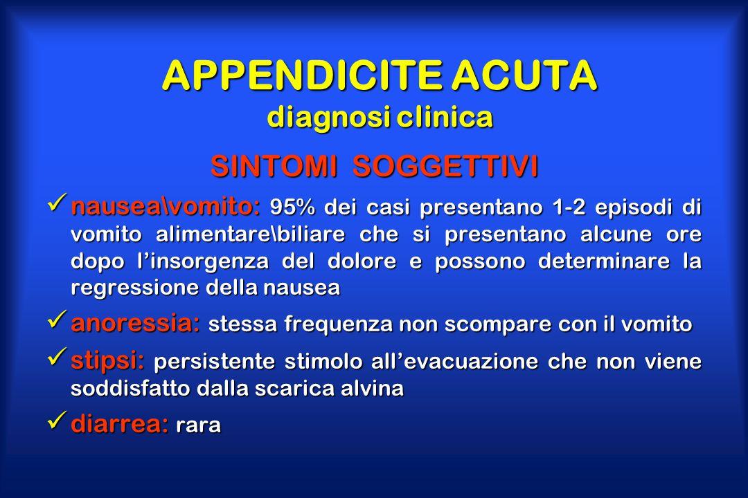 APPENDICITE ACUTA diagnosi clinica SINTOMI SOGGETTIVI nausea\vomito: 95% dei casi presentano 1-2 episodi di vomito alimentare\biliare che si presentan