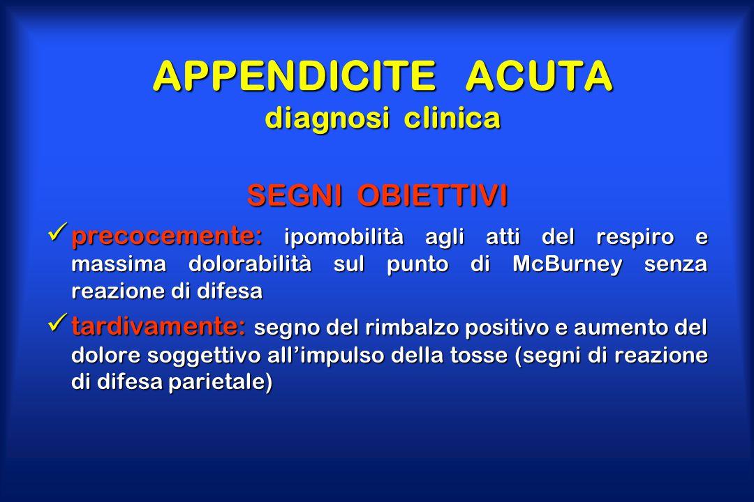 APPENDICITE ACUTA diagnosi clinica SEGNI OBIETTIVI precocemente: ipomobilità agli atti del respiro e massima dolorabilità sul punto di McBurney senza