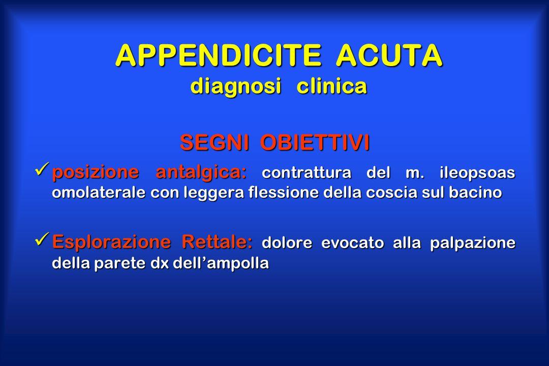APPENDICITE ACUTA diagnosi clinica SEGNI OBIETTIVI posizione antalgica: contrattura del m. ileopsoas omolaterale con leggera flessione della coscia su