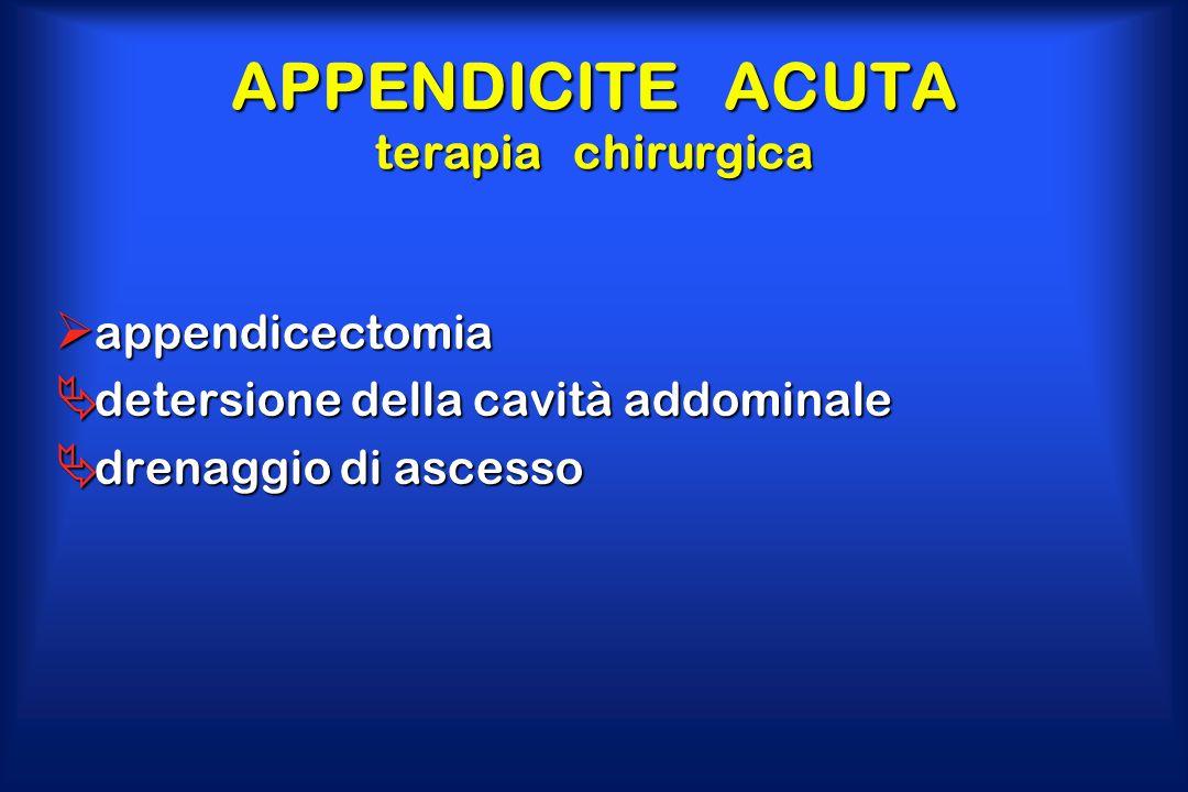 APPENDICITE ACUTA terapia chirurgica  appendicectomia  detersione della cavità addominale  drenaggio di ascesso