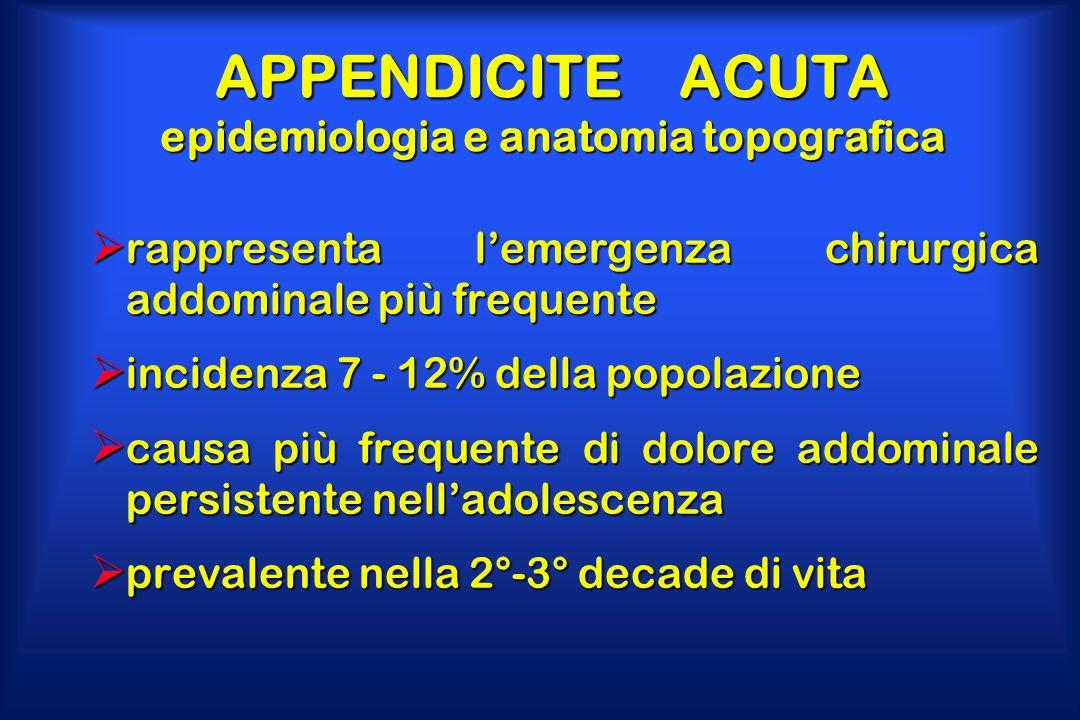 APPENDICITE ACUTA epidemiologia e anatomia topografica  rappresenta l'emergenza chirurgica addominale più frequente  incidenza 7 - 12% della popolaz