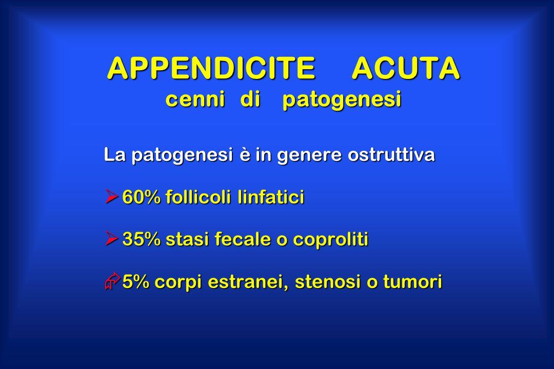 APPENDICITE ACUTA cenni di patogenesi La patogenesi è in genere ostruttiva  60% follicoli linfatici  35% stasi fecale o coproliti  5% corpi estrane