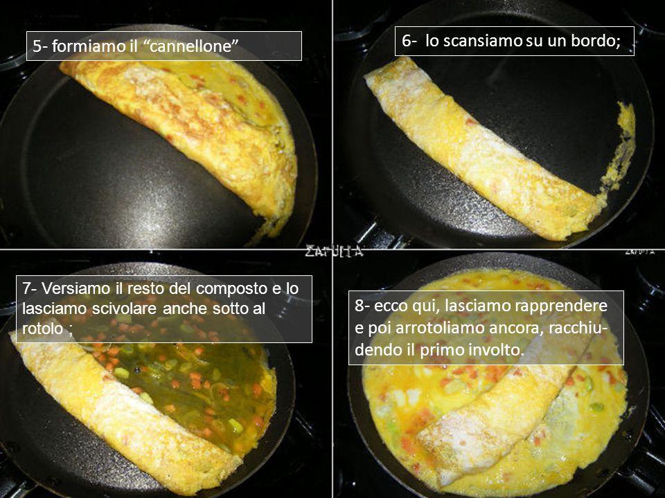 1- occorrono 2 uova, un pezzetto di carota ridotta a dadini e un pezzetto di cipollotto, tagliato finissimo; 2- si mettono in un contenitore, vi si rompono le uova e si batte il tutto, con l'aggiunta di un pizzico di sale; 3- si scalda il padellino, come già visto, ci si strofina l'involto con il burro e si versa la metà del composto di uova; 4- si lascia rapprendere e, come vediamo che riusciamo a staccare i bordi, cominciamo ad arrotolare;