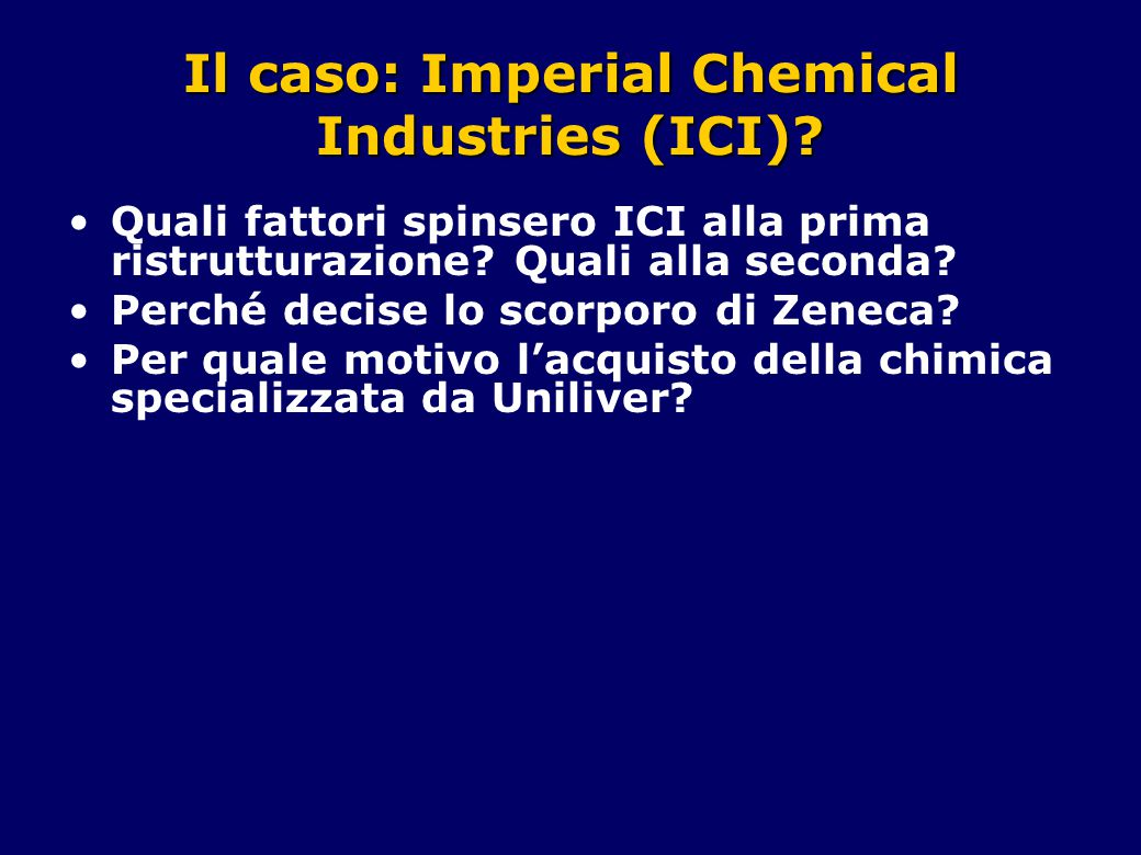 Il caso: Imperial Chemical Industries (ICI).