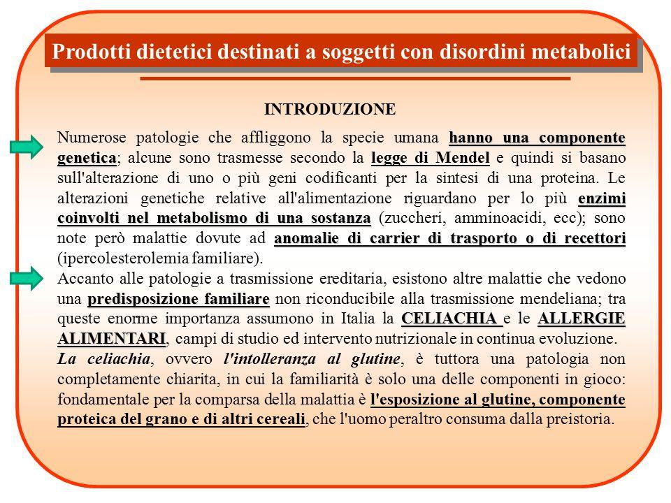 Prodotti dietetici destinati a soggetti con disordini metabolici INTRODUZIONE hanno una componente genetica enzimi coinvolti nel metabolismo di una so