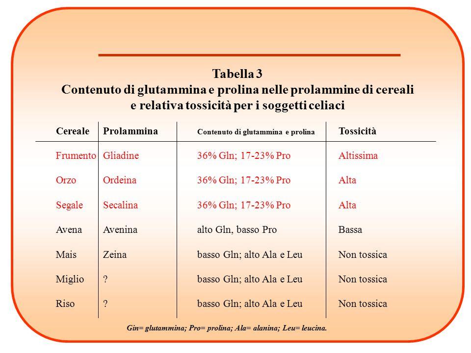 Tabella 3 Contenuto di glutammina e prolina nelle prolammine di cereali e relativa tossicità per i soggetti celiaci CerealeProlammina Contenuto di glu