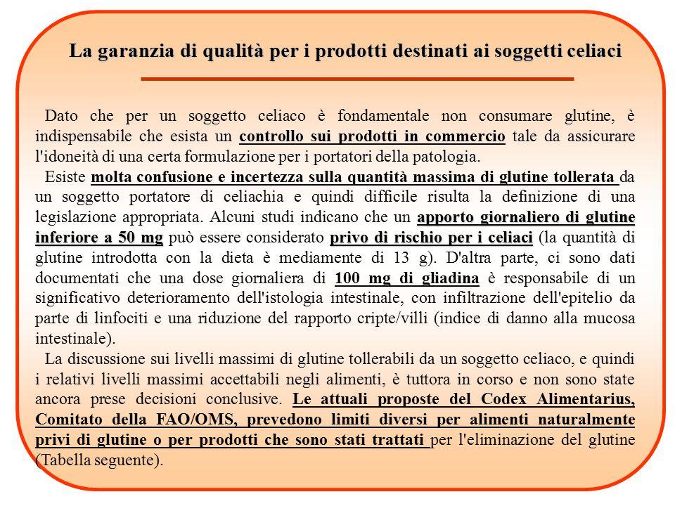 La garanzia di qualità per i prodotti destinati ai soggetti celiaci Dato che per un soggetto celiaco è fondamentale non consumare glutine, è indispens