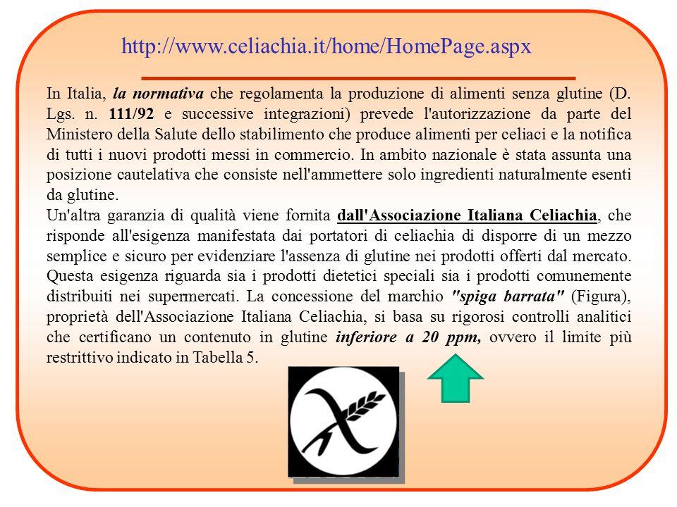 In Italia, la normativa che regolamenta la produzione di alimenti senza glutine (D. Lgs. n. 111/92 e successive integrazioni) prevede l'autorizzazione