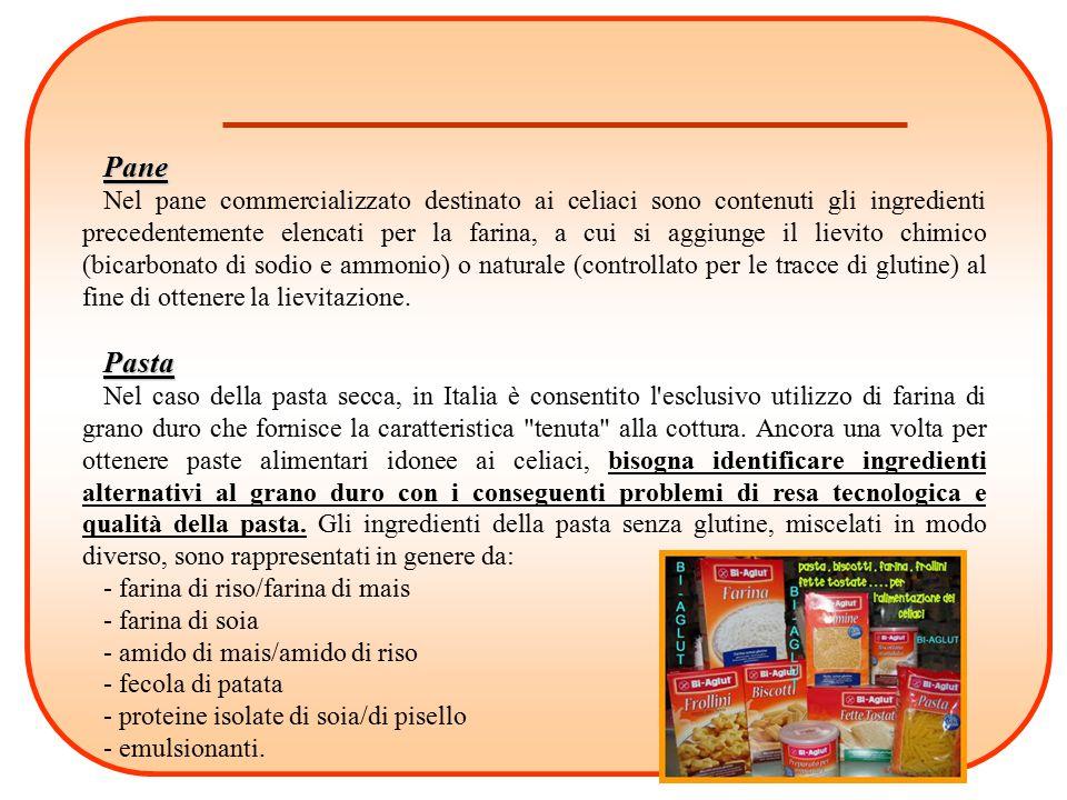 Pane Nel pane commercializzato destinato ai celiaci sono contenuti gli ingredienti precedentemente elencati per la farina, a cui si aggiunge il lievit
