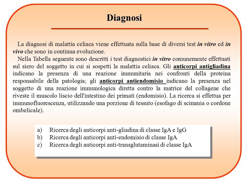 Diagnosi La diagnosi di malattia celiaca viene effettuata sulla base di diversi test in vitro ed in vivo che sono in continua evoluzione. Nella Tabell
