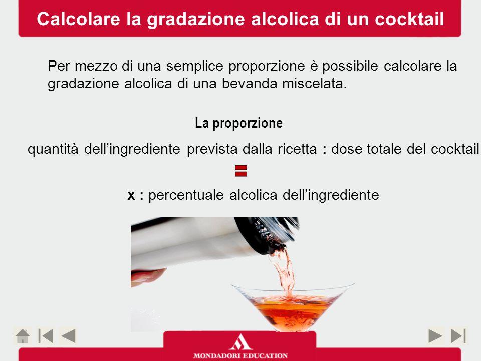 percentuale alcolica dell'ingrediente gradazione indicata in etichetta di ciascun ingrediente dose totale del cocktail contenuto complessivo del nostro cocktail quantità dell'ingrediente dose % prevista per il cocktail Calcolare la gradazione alcolica di un cocktail