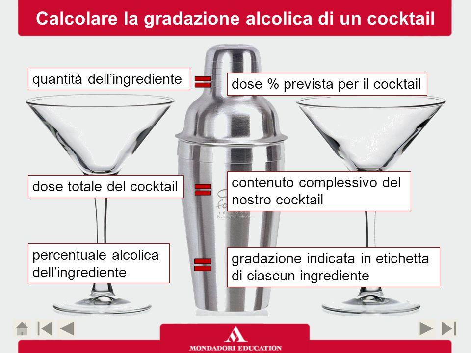 3 cl Gin 3 cl Bitter Campari 3 cl Vermouth Rosso ESEMPIO 1 Cocktail Negroni 3 cl Bitter Campari 3 cl Gin 3 cl Vermouth Rosso 9 40 25 14 QUANTITÀ DELL'INGREDIENTE PREVISTA DALLA RICETTA DOSE TOTALE DEL COCKTAIL PERCENTUALE ALCOLICA DELL'INGREDIENTE CALCOLO 3 : 9 = x : 40x = 13,3 3 : 9 = x : 25 3 : 9 = x : 14 x = 8,3 x = 4,6 Percentuale alcolica del cocktail 13,3 + 8,3 + 4,6 = 26,2% -10% scioglimento del ghiaccio Calcolare la gradazione alcolica di un cocktail