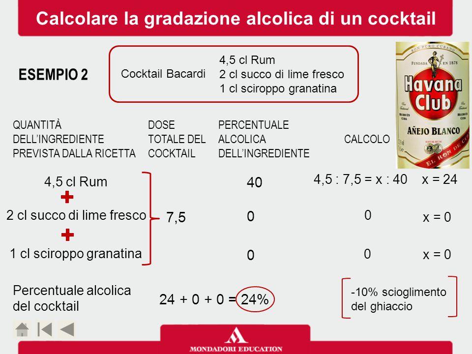4,5 cl Rum 2 cl succo di lime fresco 1 cl sciroppo granatina ESEMPIO 2 Cocktail Bacardi 2 cl succo di lime fresco 4,5 cl Rum 1 cl sciroppo granatina 7