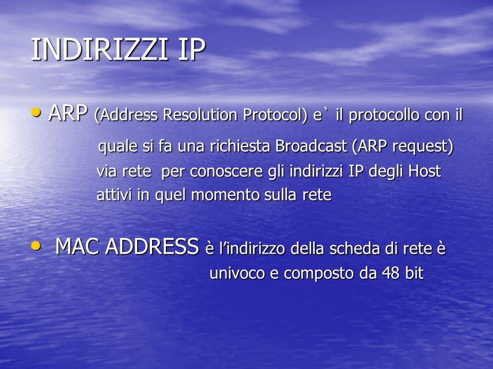 INDIRIZZI IP ARP (Address Resolution Protocol) e` il protocollo con il ARP (Address Resolution Protocol) e` il protocollo con il quale si fa una richi
