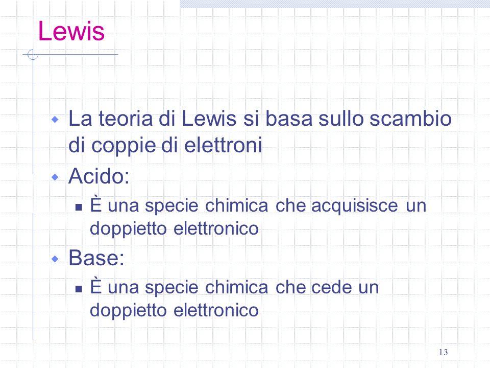 13 Lewis  La teoria di Lewis si basa sullo scambio di coppie di elettroni  Acido: È una specie chimica che acquisisce un doppietto elettronico  Bas