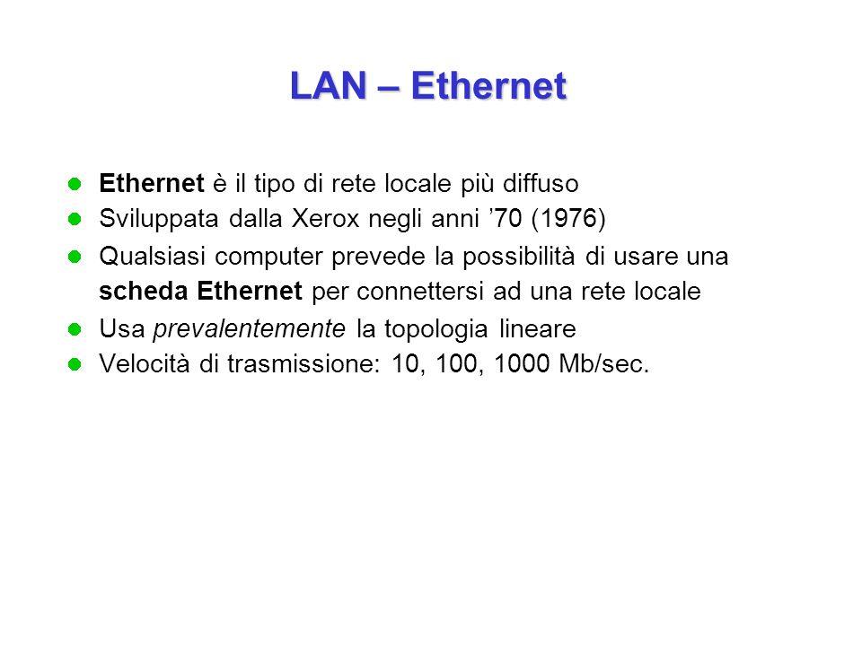 Ethernet è il tipo di rete locale più diffuso Sviluppata dalla Xerox negli anni '70 (1976) Qualsiasi computer prevede la possibilità di usare una scheda Ethernet per connettersi ad una rete locale Usa prevalentemente la topologia lineare Velocità di trasmissione: 10, 100, 1000 Mb/sec.