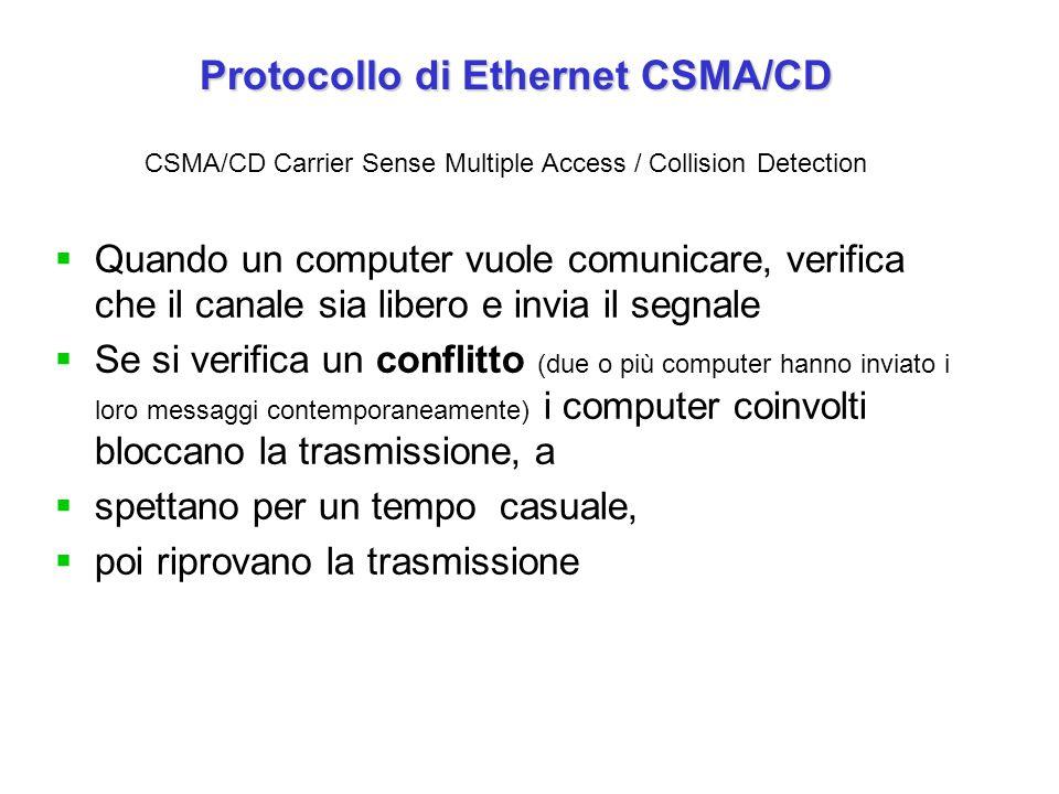 Protocollo di Ethernet CSMA/CD Protocollo di Ethernet CSMA/CD  Quando un computer vuole comunicare, verifica che il canale sia libero e invia il segnale  Se si verifica un conflitto (due o più computer hanno inviato i loro messaggi contemporaneamente) i computer coinvolti bloccano la trasmissione, a  spettano per un tempo casuale,  poi riprovano la trasmissione CSMA/CD Carrier Sense Multiple Access / Collision Detection