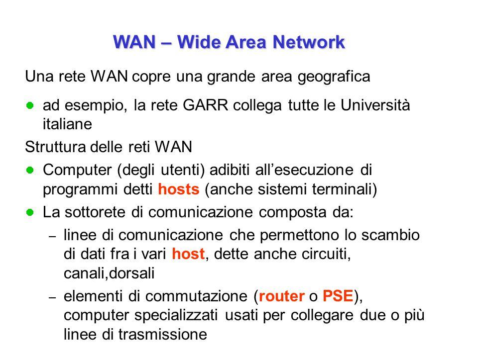 Una rete WAN copre una grande area geografica ad esempio, la rete GARR collega tutte le Università italiane Struttura delle reti WAN Computer (degli utenti) adibiti all'esecuzione di programmi detti hosts (anche sistemi terminali) La sottorete di comunicazione composta da: – linee di comunicazione che permettono lo scambio di dati fra i vari host, dette anche circuiti, canali,dorsali – elementi di commutazione (router o PSE), computer specializzati usati per collegare due o più linee di trasmissione WAN – Wide Area Network WAN – Wide Area Network