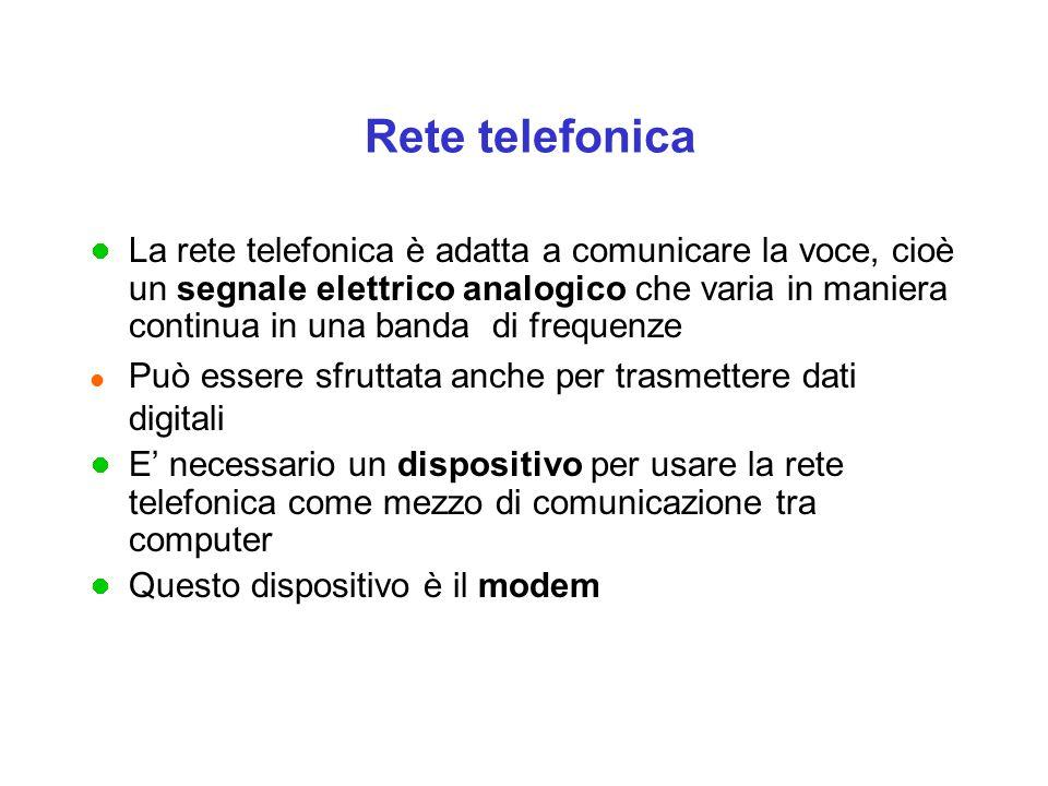 Rete telefonica La rete telefonica è adatta a comunicare la voce, cioè un segnale elettrico analogico che varia in maniera continua in una banda di frequenze l Può essere sfruttata anche per trasmettere dati digitali E' necessario un dispositivo per usare la rete telefonica come mezzo di comunicazione tra computer Questo dispositivo è il modem