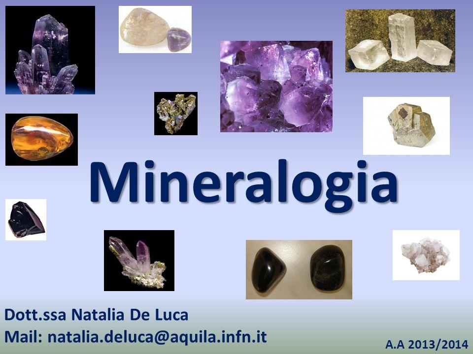 Mineralogia Dott.ssa Natalia De Luca Mail: natalia.deluca@aquila.infn.it A.A 2013/2014