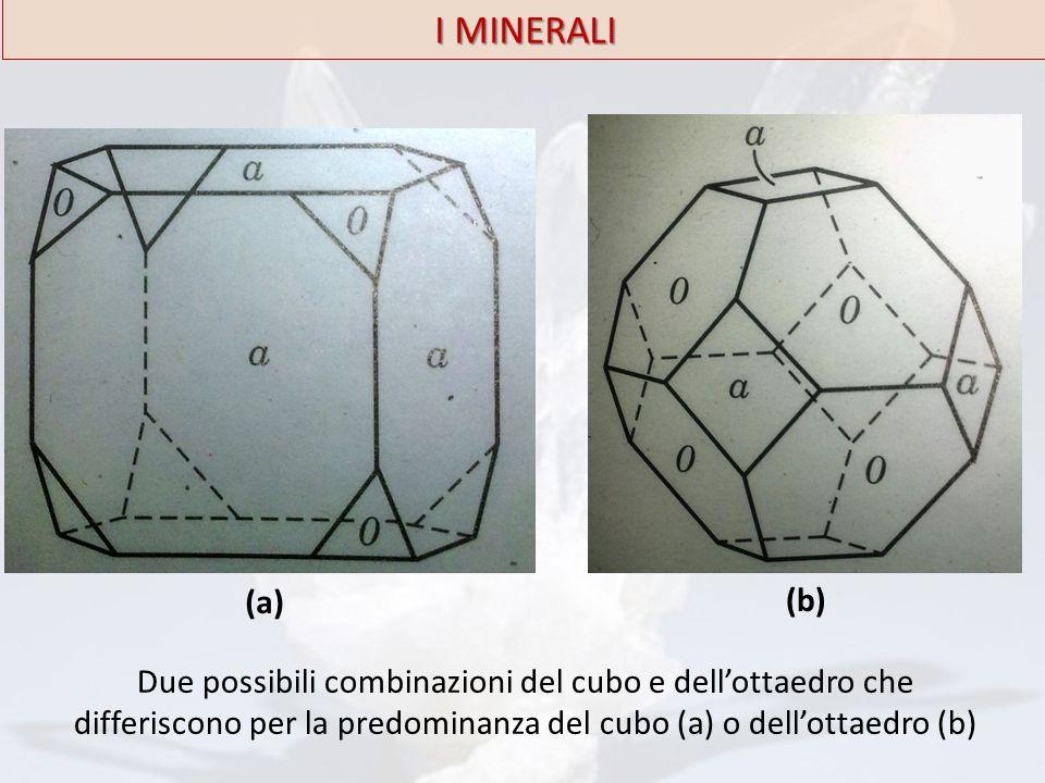 I MINERALI Due possibili combinazioni del cubo e dell'ottaedro che differiscono per la predominanza del cubo (a) o dell'ottaedro (b) (a) (b)