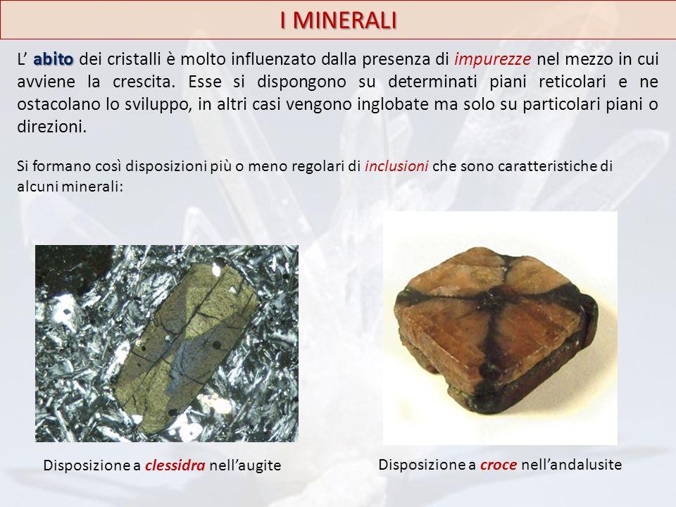 abito L' abito dei cristalli è molto influenzato dalla presenza di impurezze nel mezzo in cui avviene la crescita. Esse si dispongono su determinati p