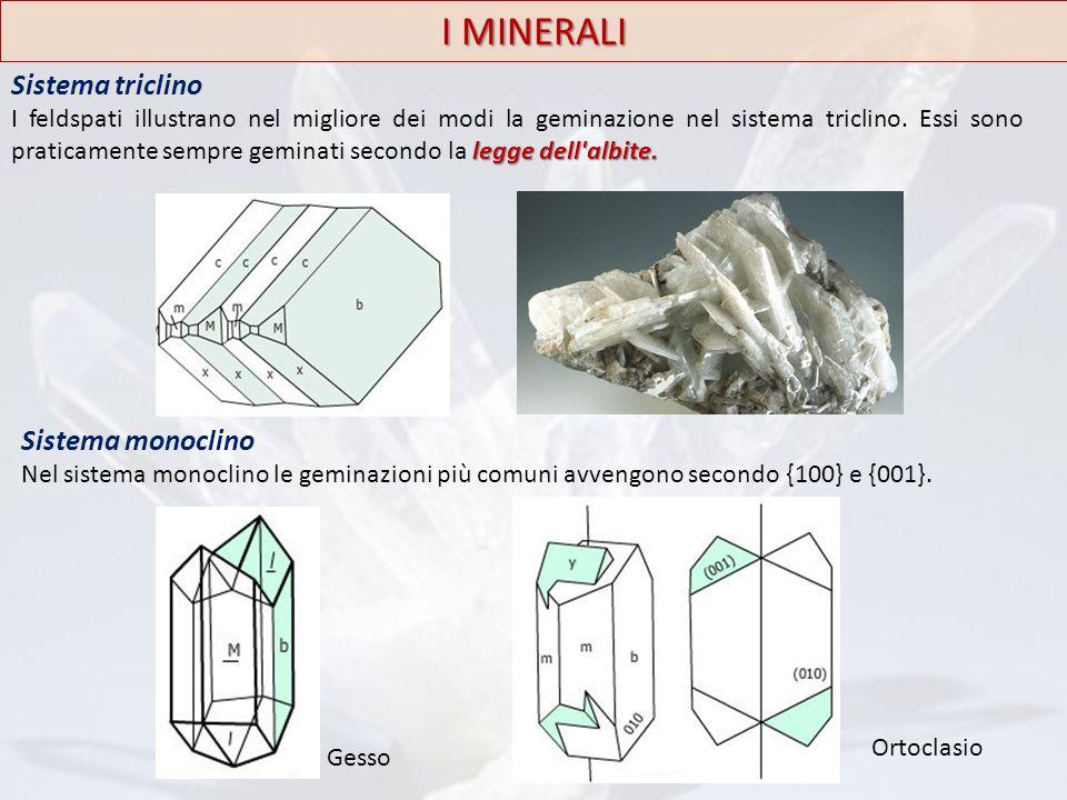 I MINERALI Sistema triclino legge dell'albite. I feldspati illustrano nel migliore dei modi la geminazione nel sistema triclino. Essi sono praticament