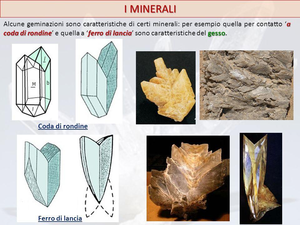 I MINERALI a coda di rondineferro di lanciagesso Alcune geminazioni sono caratteristiche di certi minerali: per esempio quella per contatto 'a coda di