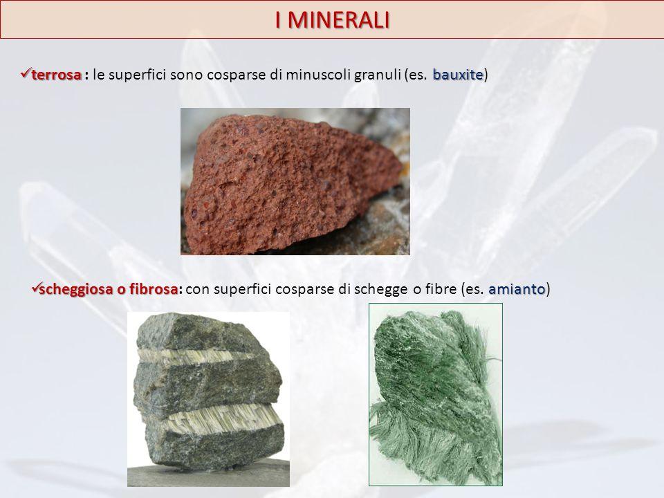 terrosabauxite terrosa : le superfici sono cosparse di minuscoli granuli (es. bauxite) scheggiosa o fibrosaamianto scheggiosa o fibrosa: con superfici