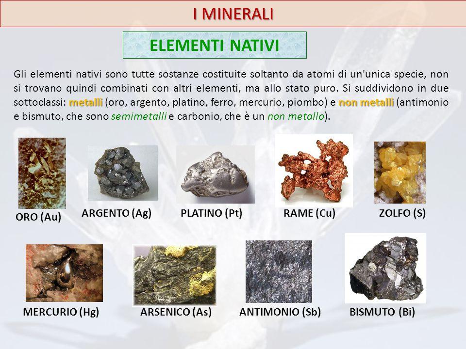 I MINERALI ELEMENTI NATIVI metallinon metalli Gli elementi nativi sono tutte sostanze costituite soltanto da atomi di un'unica specie, non si trovano