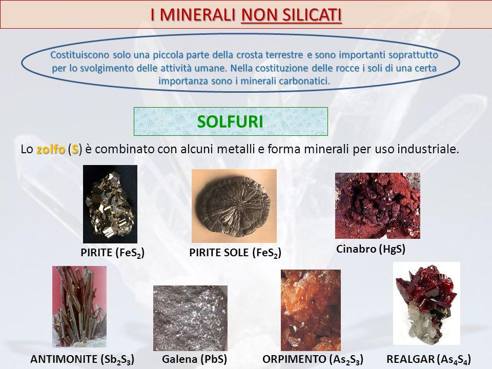 SOLFURI I MINERALI NON SILICATI zolfoS Lo zolfo (S) è combinato con alcuni metalli e forma minerali per uso industriale. PIRITE (FeS 2 ) Cinabro (HgS)