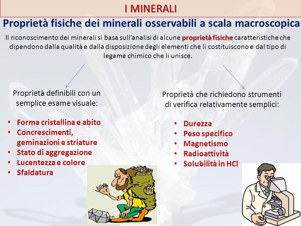 I MINERALI Proprietà fisiche dei minerali osservabili a scala macroscopica Proprietà definibili con un semplice esame visuale: Forma cristallina e abi