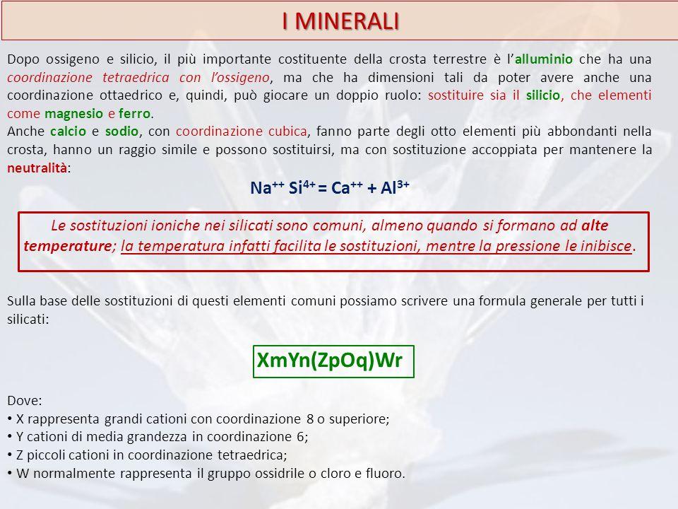 I MINERALI Dopo ossigeno e silicio, il più importante costituente della crosta terrestre è l'alluminio che ha una coordinazione tetraedrica con l'ossi