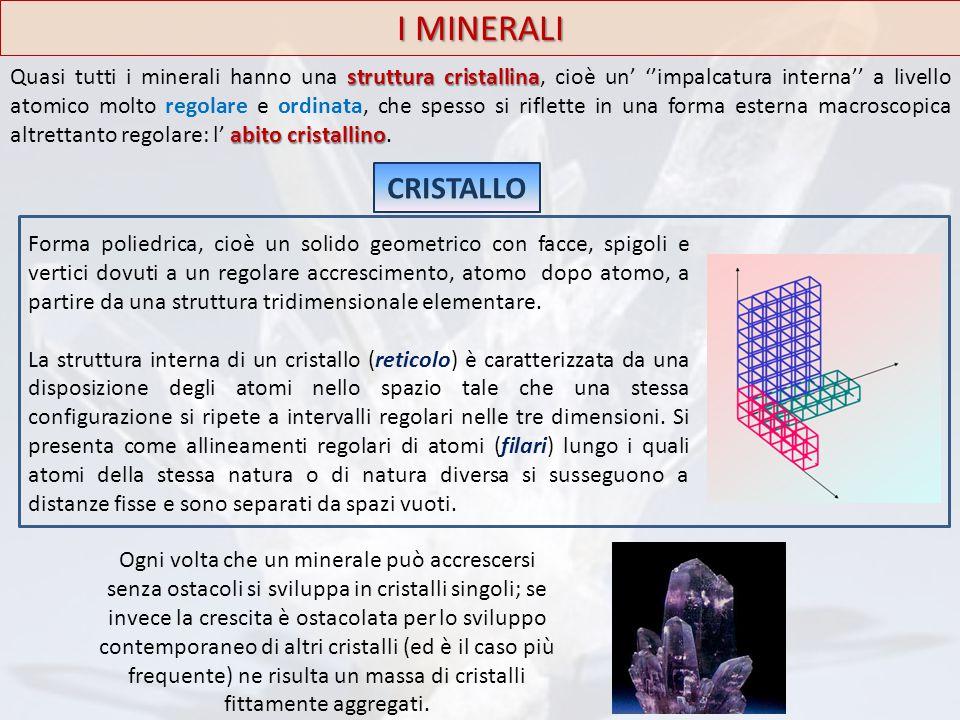 I MINERALI struttura cristallina abito cristallino Quasi tutti i minerali hanno una struttura cristallina, cioè un' ''impalcatura interna'' a livello