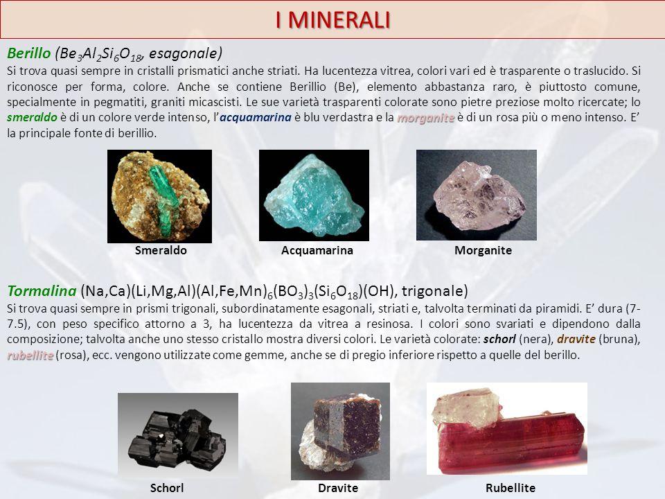 I MINERALI Berillo (Be 3 Al 2 Si 6 O 18, esagonale) morganite Si trova quasi sempre in cristalli prismatici anche striati. Ha lucentezza vitrea, color