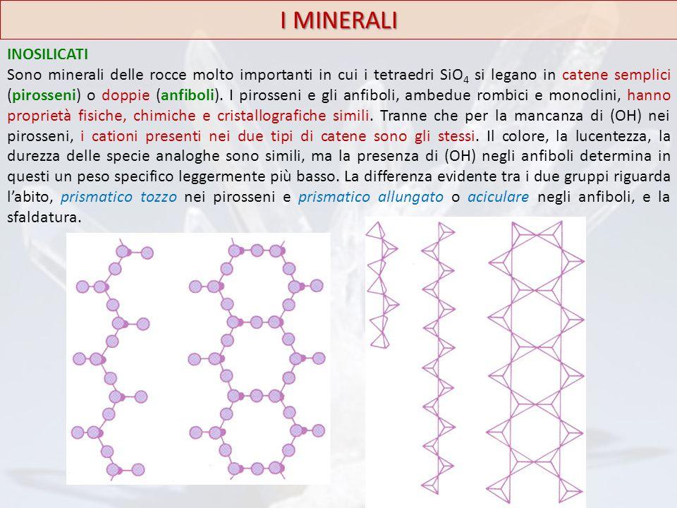 I MINERALI INOSILICATI Sono minerali delle rocce molto importanti in cui i tetraedri SiO 4 si legano in catene semplici (pirosseni) o doppie (anfiboli