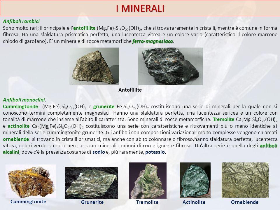 I MINERALI Anfiboli rombici ferro-magnesiaco Sono molto rari; il principale è l'antofillite (Mg,Fe) 7 Si 8 O 22 (OH) 2, che si trova raramente in cris