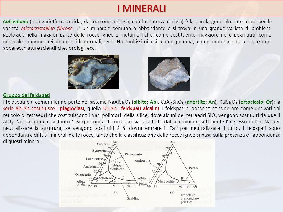 I MINERALI Calcedonio (una varietà traslucida, da marrone a grigia, con lucentezza cerosa) è la parola generalmente usata per le varietà microcristall