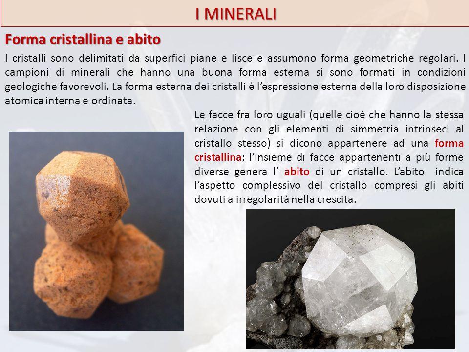 I MINERALI Forma cristallina e abito I cristalli sono delimitati da superfici piane e lisce e assumono forma geometriche regolari. I campioni di miner
