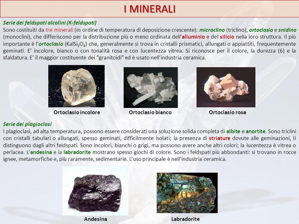 I MINERALI Serie dei feldspati alcalini (K-feldspati) Sono costituiti da tre minerali (in ordine di temperatura di deposizione crescente): microclino