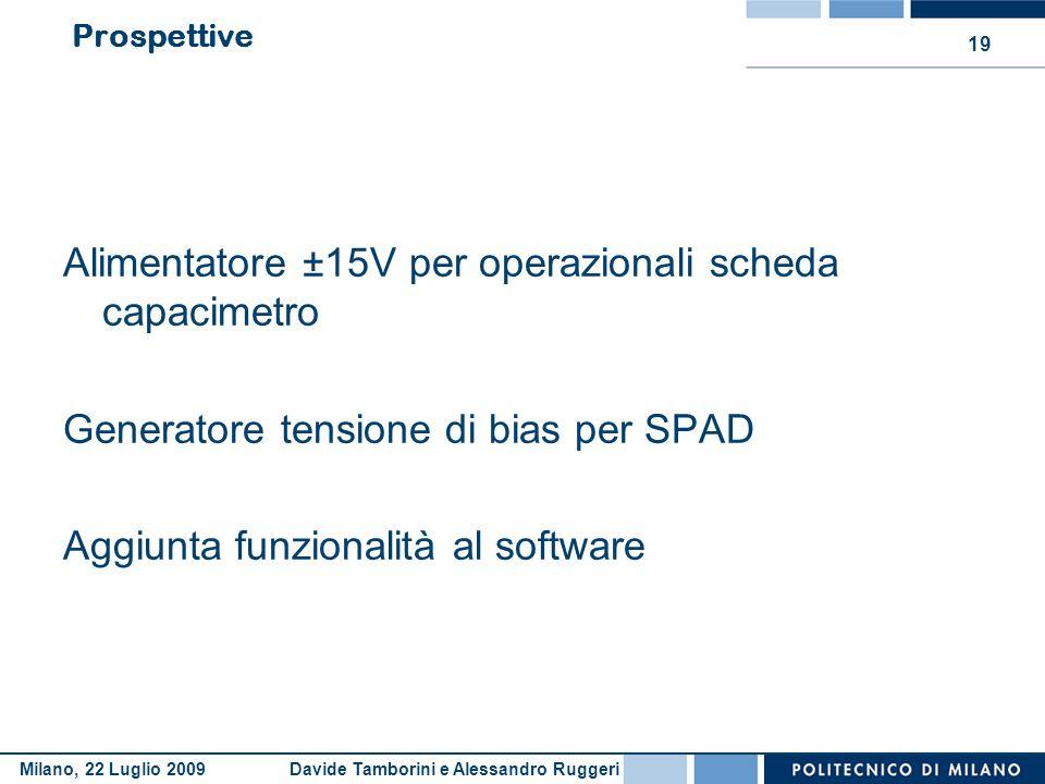 Davide Tamborini e Alessandro RuggeriMilano, 22 Luglio 2009 19 Prospettive Alimentatore ±15V per operazionali scheda capacimetro Generatore tensione d