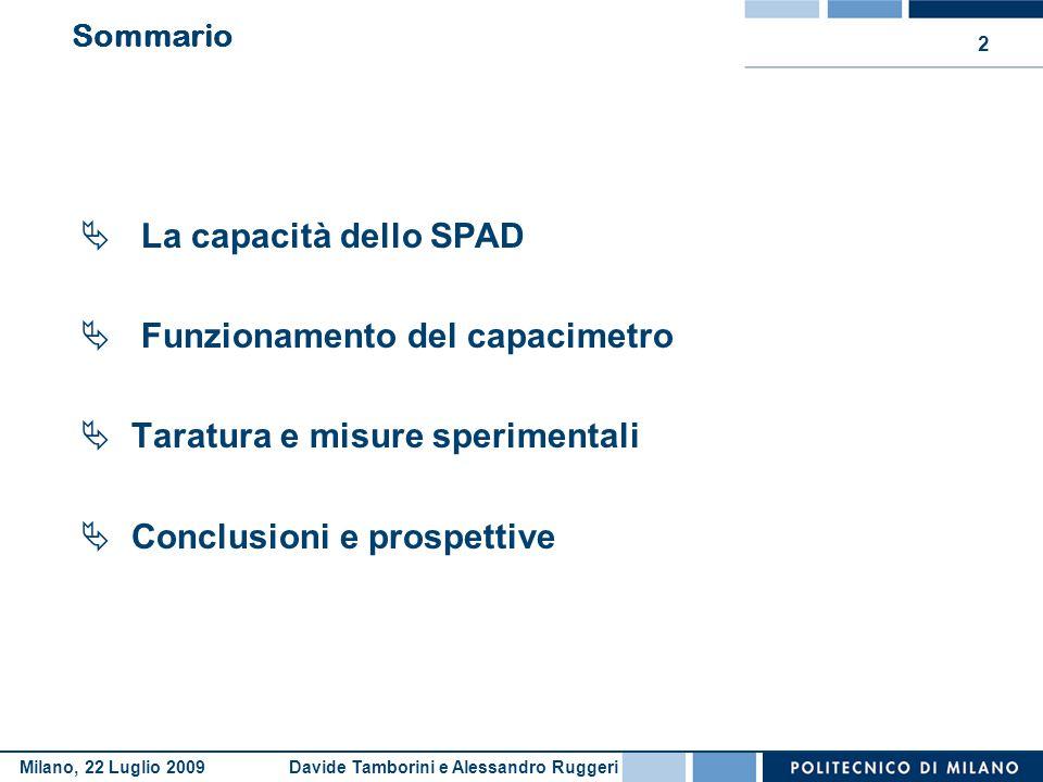 Davide Tamborini e Alessandro RuggeriMilano, 22 Luglio 2009 2 Sommario  La capacità dello SPAD  Funzionamento del capacimetro  Taratura e misure sp