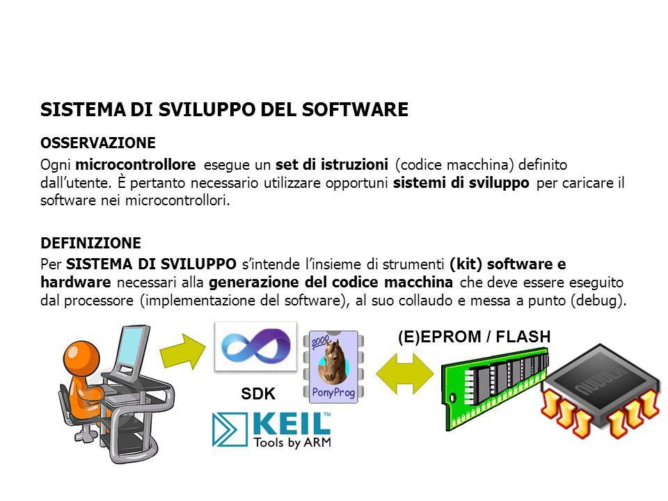 OSSERVAZIONE Ogni microcontrollore esegue un set di istruzioni (codice macchina) definito dall'utente.