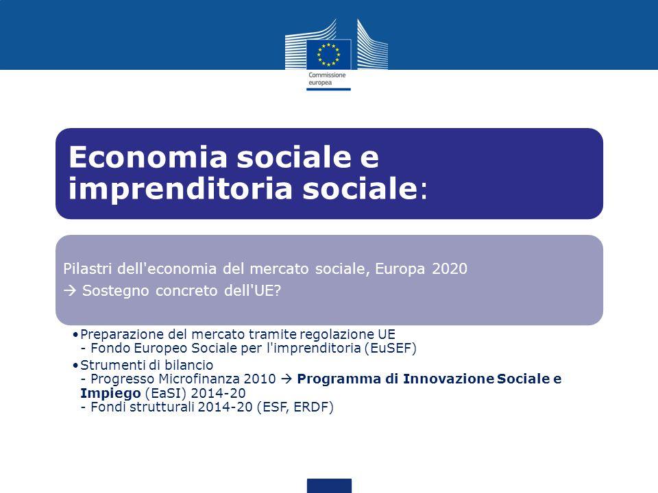Economia sociale e imprenditoria sociale: Pilastri dell economia del mercato sociale, Europa 2020  Sostegno concreto dell UE.